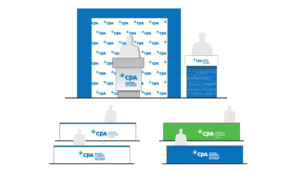 Patterned podium backdrop and signs using CPA logo and brand colours