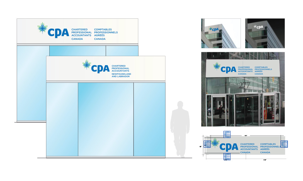 CPA national and regional exterior signs showing day- and night-time visability