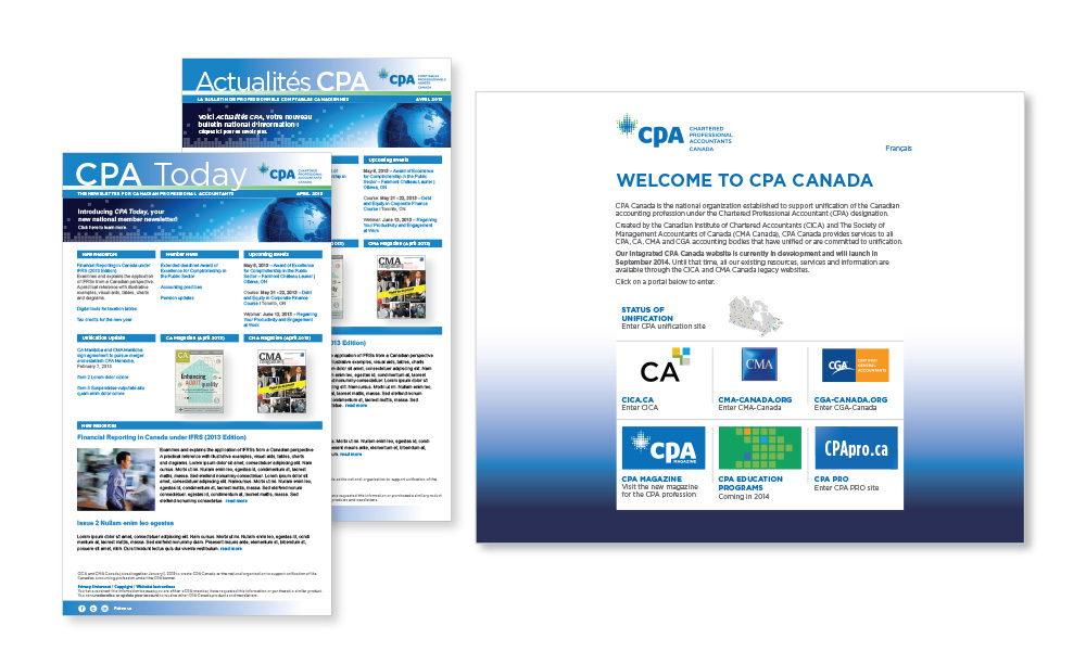 CPA member e-newsletter and welcome landing page